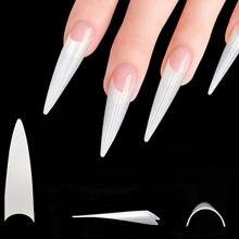 500 шт 10 размеров заостренные тонкие ногти накладные искусственные