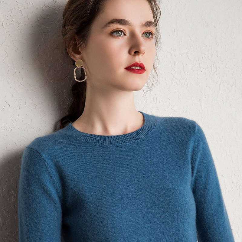 2019 New Colours Women's 100% Cashmere O-neck Knitted Pullover Multi Colors Basic Pure Sweater For Women Roundneck Winter Jumper
