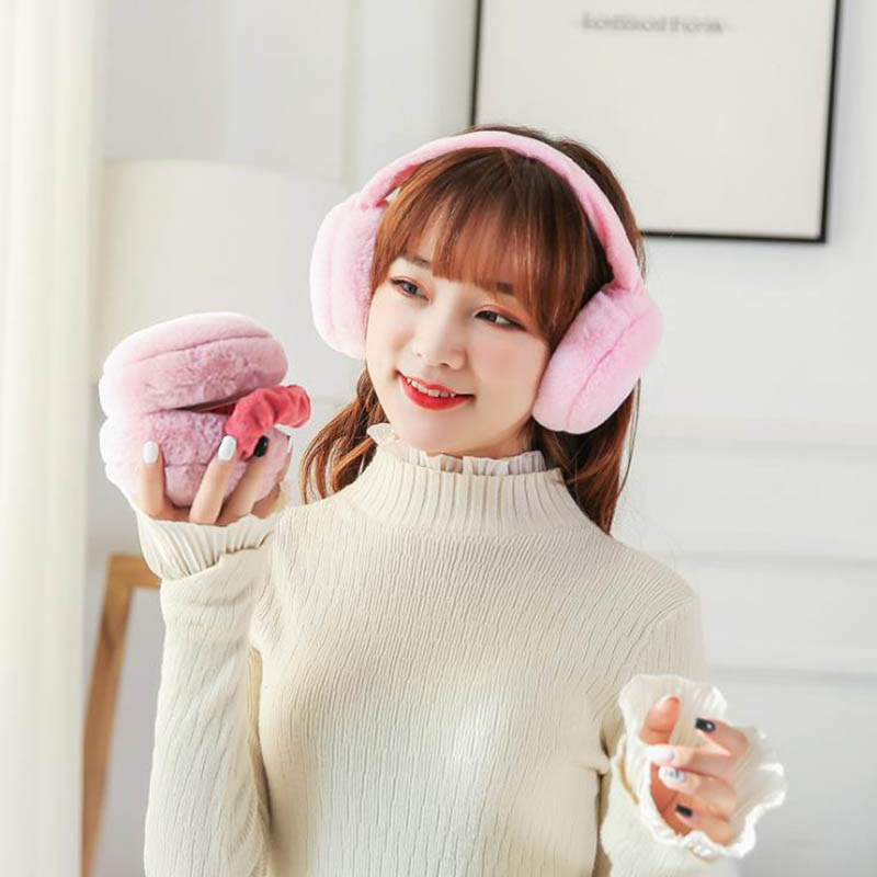 Calymel  Foldable Earflap Furry Soft Women Warm Earmuffs Winter Ear-warmers Winter Casual Warm Ear Muffs Women Girls
