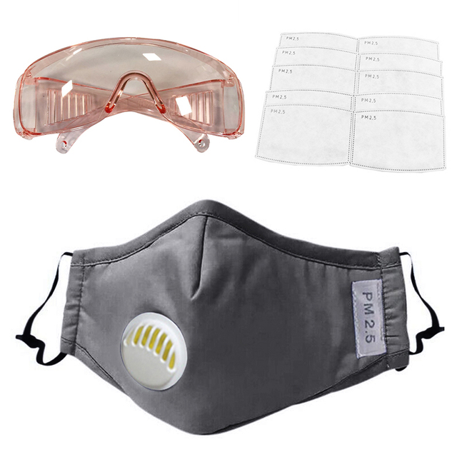 1PC Anti-PM2.5 Dust Safety Mask+12Pcs Filters +1PC Anti-droplets  Drool-proof Goggles Set Full Protection from Flu