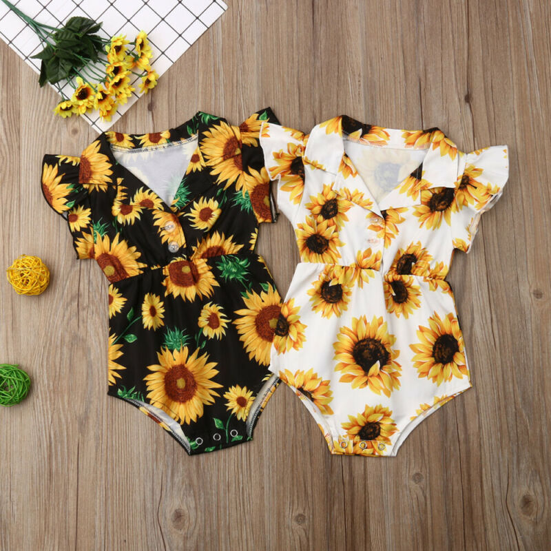 Summer Toddler Baby Girls Clothes Sunflower Jumpsuit Outfits Sunsuit