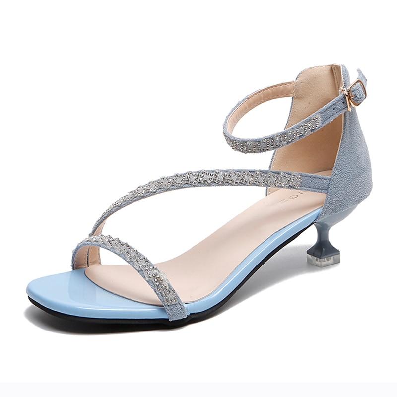 Shiny Crystal Thin Belt Kitten Heels Sandals Women Summer Shoes Open Toe High Heels Women Elegant Dress Office Shoes 2020
