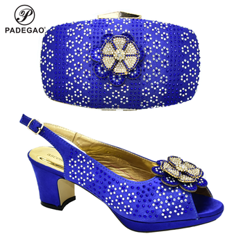 2020 Super High Heel Blue African Designer Shoes And Bag Set To Match Italian Party Shoes With Matching Bags Set FREE SHIPPIN