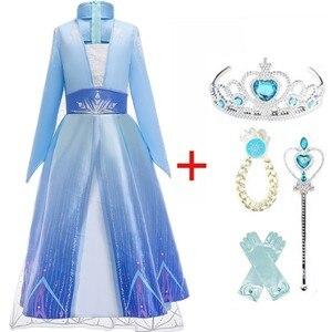 Girls Dress Elsa 2 Dress Party Cosplay Girl Clothing Anna Snow Queen Print Birthday Princess Dress Elza Kids Costume Vestidos(China)
