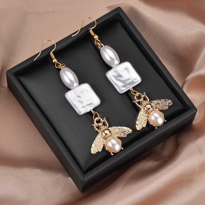נשים של מעודן זהב דבורה חיקוי פניני תליון & עגילי אופנה סגלגל חרוזים תליון עגילי תכשיטי אבזרים