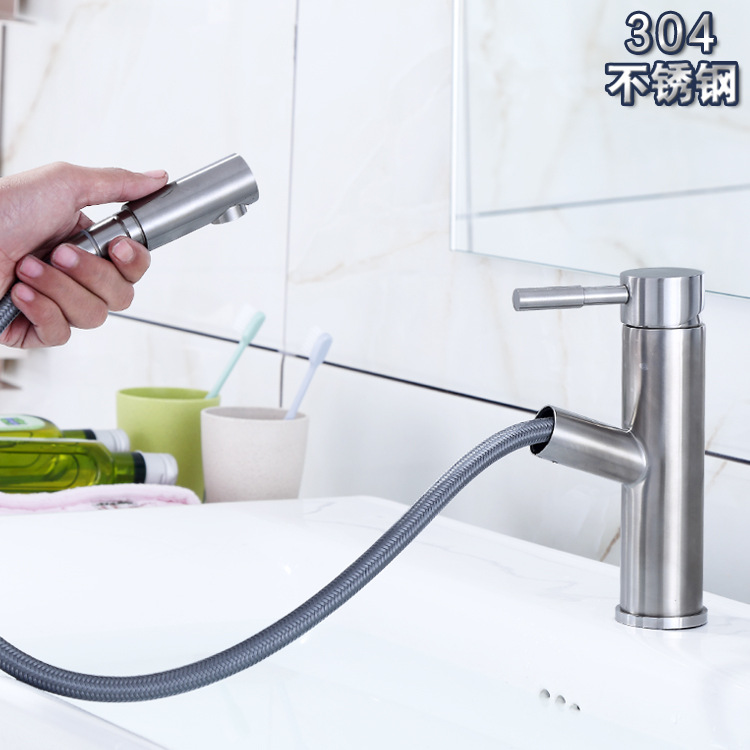 New Products Listed 304 Stainless Steel Pulling Basin Faucet Extendable Shampoo Table Basin Bathroom Faucet Wholesale
