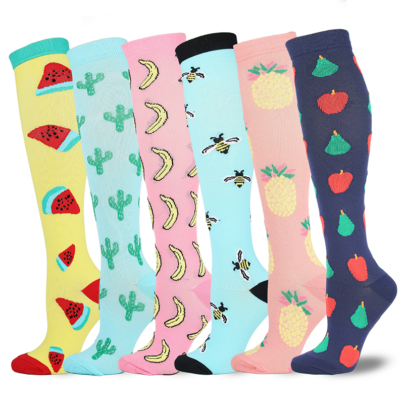Leg Support Stretch Compression Stockings Outdoor Sport Compression Socks Fruits Pattern Below Knee Socks Long Socks Stockings
