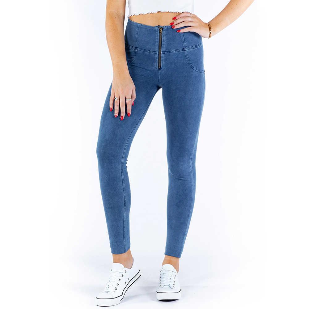 Melody Luz Azul Zipper Fly Cintura Alta Leggings Para Mulheres Estiramento Confortável Estilo Push Up Leggings XXXL Plus Size Jeggings
