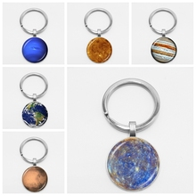 Creative Chaveiro Interstellar Universe Planet Solar System Milky Way Nine Stars Glass Key Chain Car Hanging Jewelry
