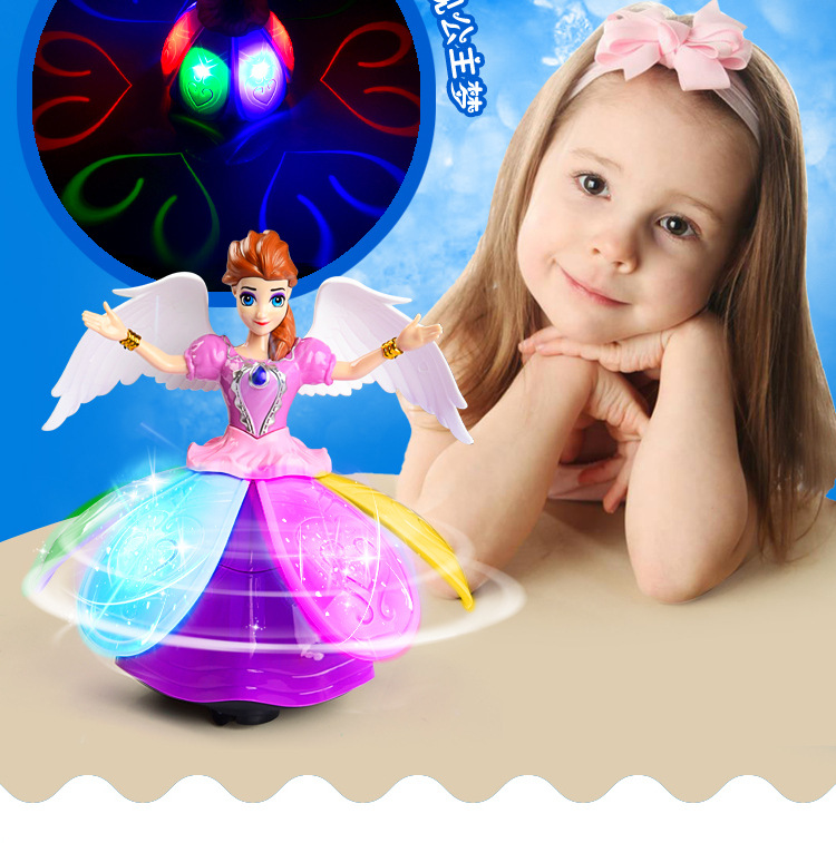 Snow Princess Electric Toy Spin Dazzle Dance Princess Universal Singing Dance Girl Toy Lantern Interactive Toys