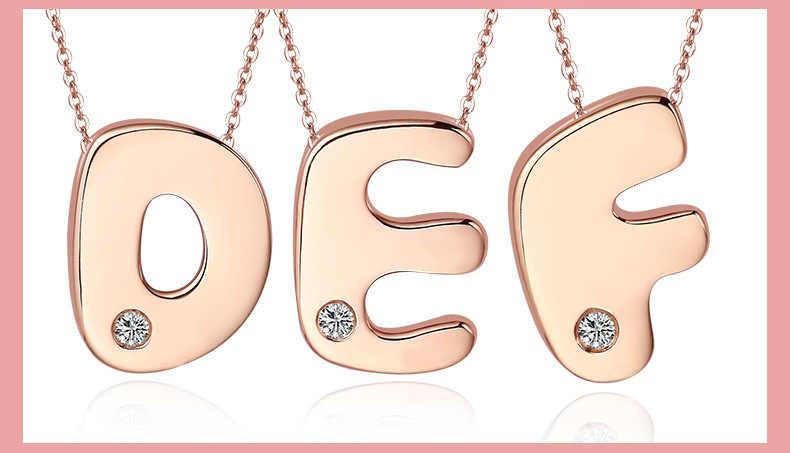 Elegant Letter เพชร 18K จริงทองคำ AU750 Rose จี้ Charm สร้อยคอสำหรับสาวอินเทรนด์แฟนซี Upscale เครื่องประดับ