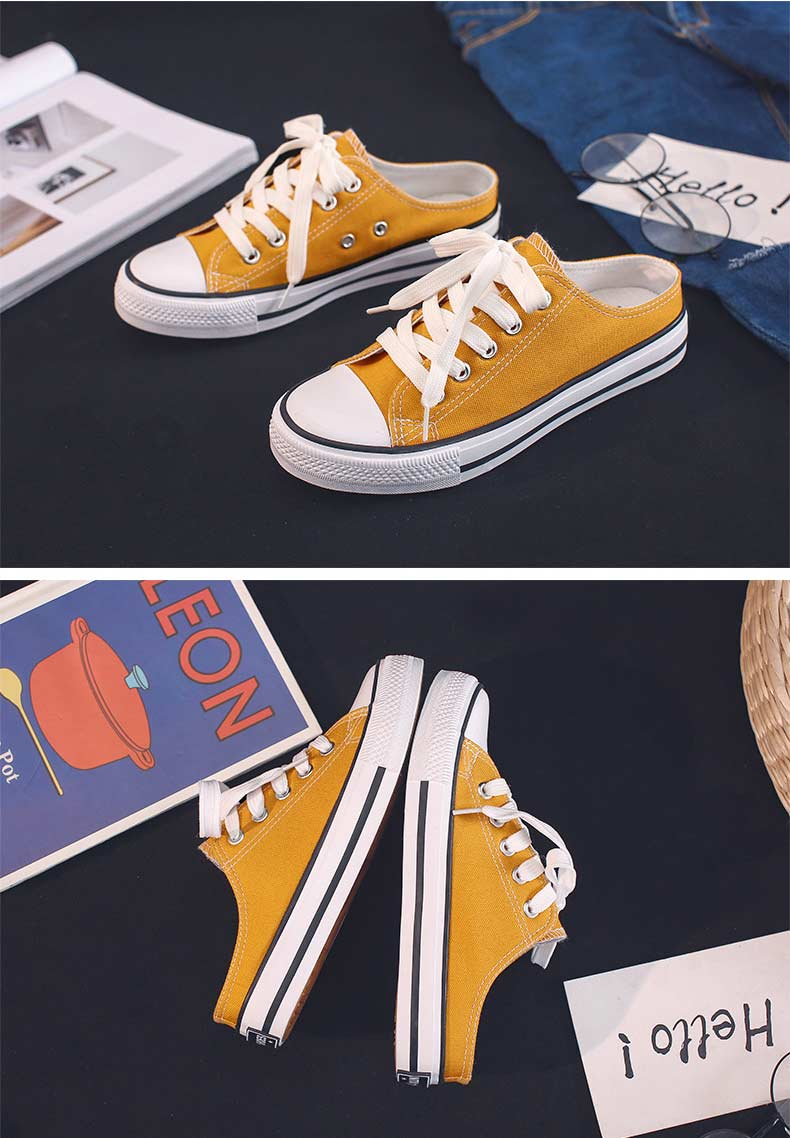 Casual half-drag canvas shoes woman 2019 new fashion solid sneakers women vulcanized shoes lace-up no heel lazy shoes flats (16)