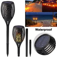 2pc 96 LED Outdoor Waterproof Flickering Flame Lamp Solar Torch Light Home Garden Decoration Fence Lawn Lamp Walkway