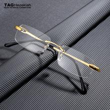 TAG markowe okulary ramka mężczyźni Retro Square designer bezramowe oprawki do okularów dla kobiet krótkowzroczność komputerowe oprawki do okularów nerd tanie tanio TAGHezekiah STOP CN (pochodzenie) GEOMETRIC T3603466 FRAMES Akcesoria do okularów
