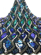 High Quality African Lace Fabric Latest  Tulle Nigerian With Sequins For Wedding rof1-1218