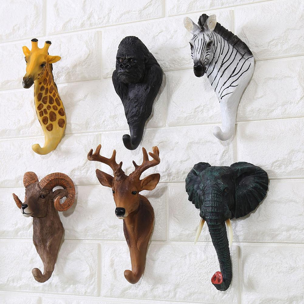 Wohnkultur Kreative Vintage Decor Haken Cafe Bar Shop Wand Montiert 3D Tier Wand Hängen Haken Kleiderbügel Tasche Tasten Kleidung halter