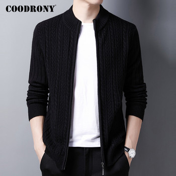 COODRONY Brand Sweater Men High Quality Pure Merino Wool Cardigan Men Clothing 2020 Autumn Winter Thick Warm Sweatercoats C3012 coodrony brand sweater men zipper turtleneck cardigan men clothing autumn winter thick warm 100% merino wool sweater coat p3026
