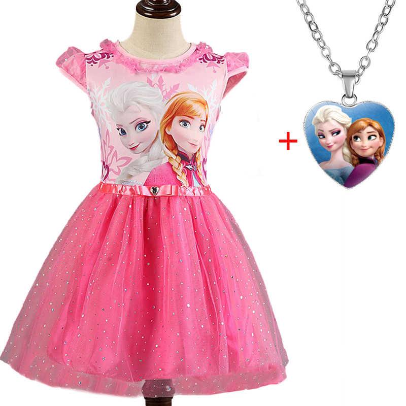 Elsa Anna 2 Dresse Set untuk Anak Perempuan Kostum Karnaval Anak Gaun Anak Natal Cosplay Handmde Pesta Gaun