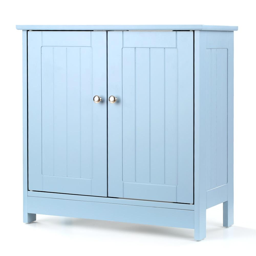 iKayaa Modern Under Sink Storage Cabinet with Doors Bathroom Vanity Furniture 2 Layer Organizer White/Blue