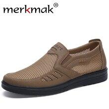 Merkmak Mode Zomer Schoenen Mannen Casual Mesh Schoenen Grote Maten 38 48 Lichtgewicht Ademend Slip On Flats 2020 nieuwe Mannen SneakersCasual schoenen voor Mannen