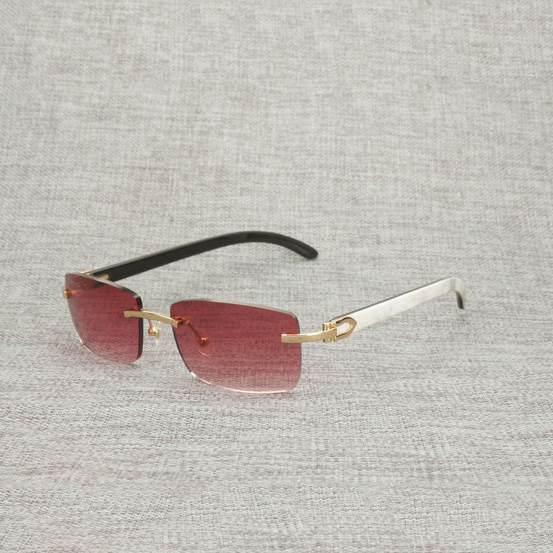 Vintage Rimless Buffalo Horn Sunglasses Men Square Wood Eyeglasses For Club Driving Shades Retro Gafas 012N