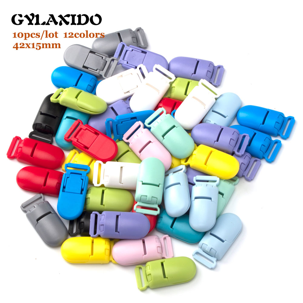 10Pcs/lot Baby Pacifier Clips 15mm Solid Plastic Soother Holder Clasp For DIY Teething Necklace Infant Pacifier Nipples Holder