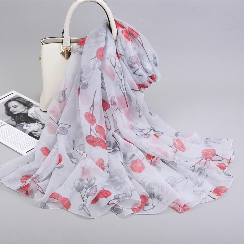G1050  Women Spring Scarf Soft Silk Scarf Long Flower Printed Scarves Female New Summer Beach Wrap Shawl Scarves