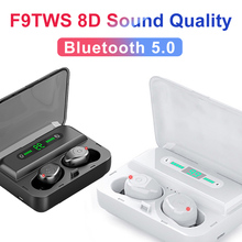 New TWS F9 Wireless Headset Bluetooth 5.0 Headphones LED Display 8D Lossless Sound Quality Mini Portable Charge Box Practical