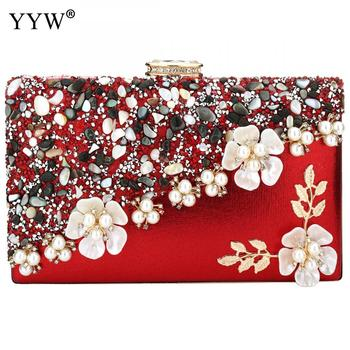 Women Evening Bag Ladies Flower Wedding Clutches Female Party Luxury Clutch Purse With Rhinestone Fashion Chain Crossbody Bags new fashion colorful women bag brands bridal wedding clutches women evening bag party banquet elegant girls handbags with chain