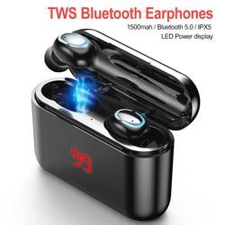 Беспроводные Bluetooth-наушники TWS, гарнитура Bluetooth 5,0, 3D Стерео Игровые наушники HBQ с микрофоном, спортивные наушники со светодиодным цифровым ди...