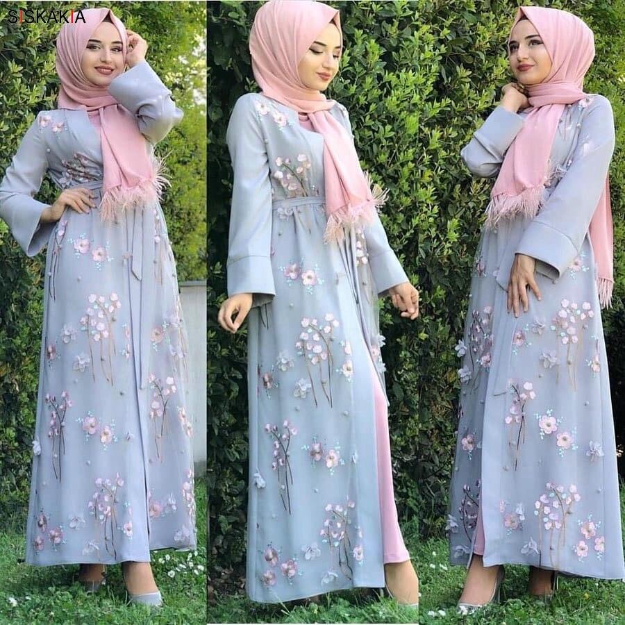 Siskakia 3D Flower Embroidery Abaya Dress Middle East Turkish Dubai Fashion Jubah & Kimonos Sweet Pink Blue Muslim Arabian Wears