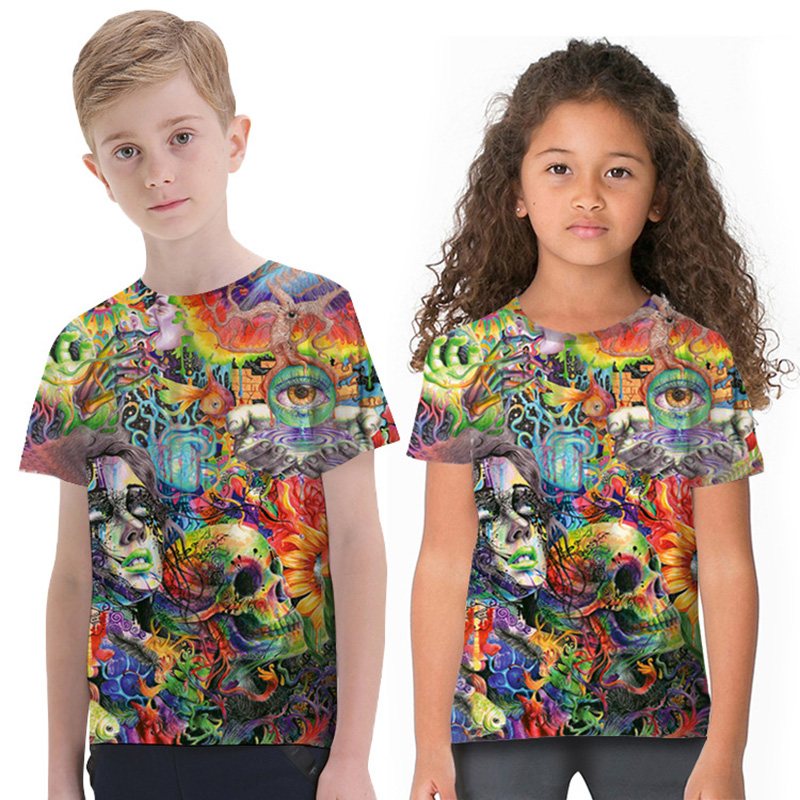New Boys Short Sleeve Tops Children Cartoon 3D Print Skull T-shirts Kids Boys Girls Crew Neck Tees Clothes for 2-11 Y