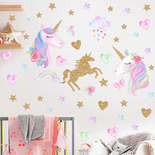 Cartoon Unicorn Horse Star Heart Shape Pattern Wall Stickers For Kids Room Home Decoration Diy Animal Mural Art Pvc Decal(China)