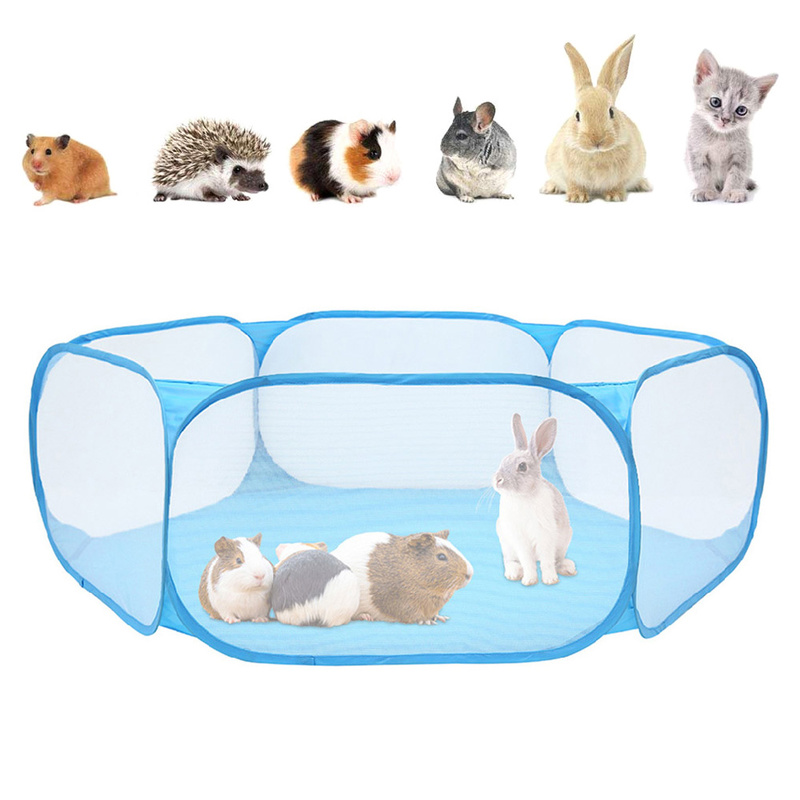 Portable Pet Fence Foldable Small Dog Cat Animal Cage Game Playground Fences for Hamster Chinchillas and Guinea- Pigs