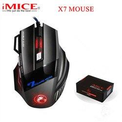 Ergonomiczna przewodowa mysz do gier 7 przycisk LED 5500 DPI komputer USB mysz mysz dla gracza X7 Silent Mause z podświetleniem na PC Laptop