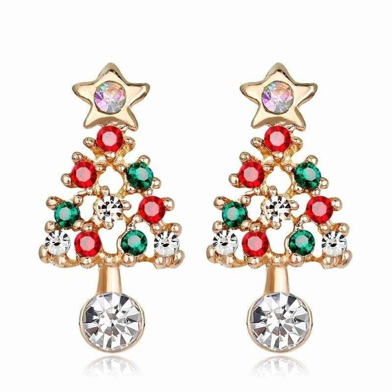 women earrings Christmas Tree Earrings Rhinestone Ear Stud Elegant christmas earrings Jewelry Xmas Gift ear rings