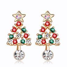 Brincos femininos brincos de árvore de natal strass brincos de orelha elegante brincos de natal jóias presente de natal brincos de orelha