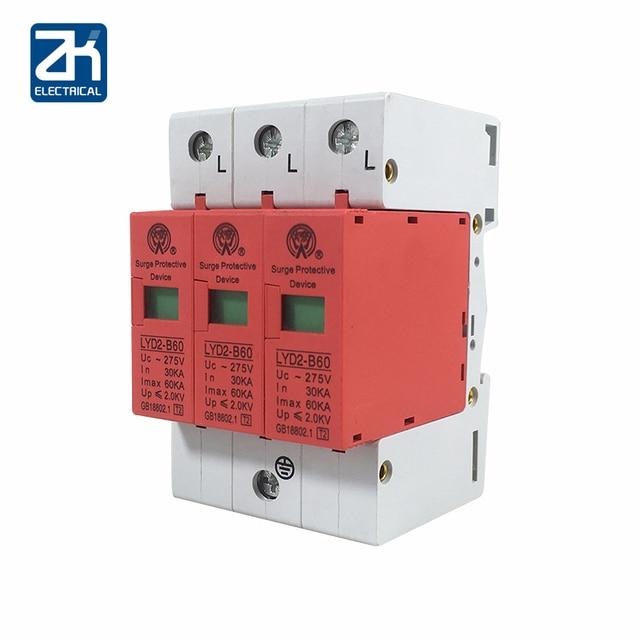 B60-3P 30KA~60KA ~275V 385V 420V AC SPD House Surge Protector Protective Low-voltage Arrester Device 2P+N Lightning protection