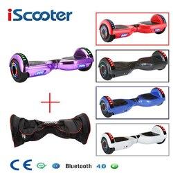 Aerodeslizadores eléctricos inteligentes Bluetooth de 2 ruedas de 6,5 pulgadas de iScooter con bolsa de transporte de luz LED