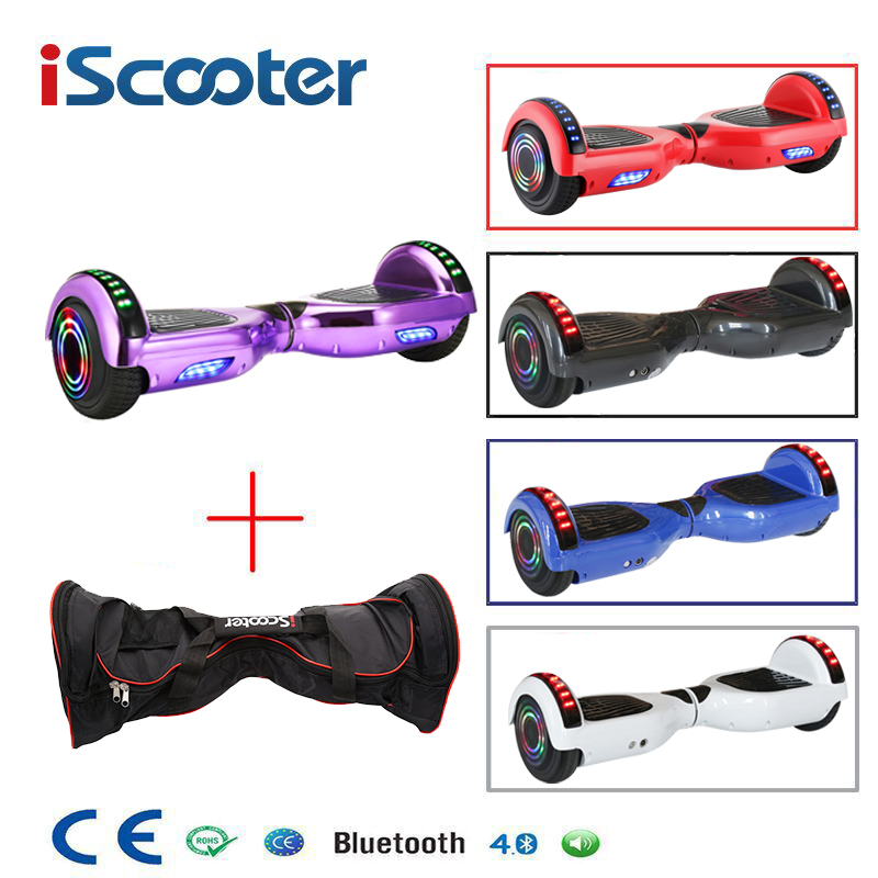 iScooter 6.5 inch 2 Wheels Bluetooth Smart Electric Hoverboards with LED Light Carrying Bag
