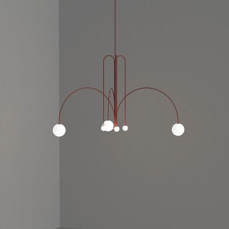Luz de luxo sala estar jantar lustre minimalista arte salão exposição sala estudo iluminação criativo linha geométrica luz - 3