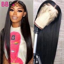 Perruque Lace Frontal Wig brésilienne naturelle, cheveux lisses, 4x4, 13x4, pre-plucked, pour femmes