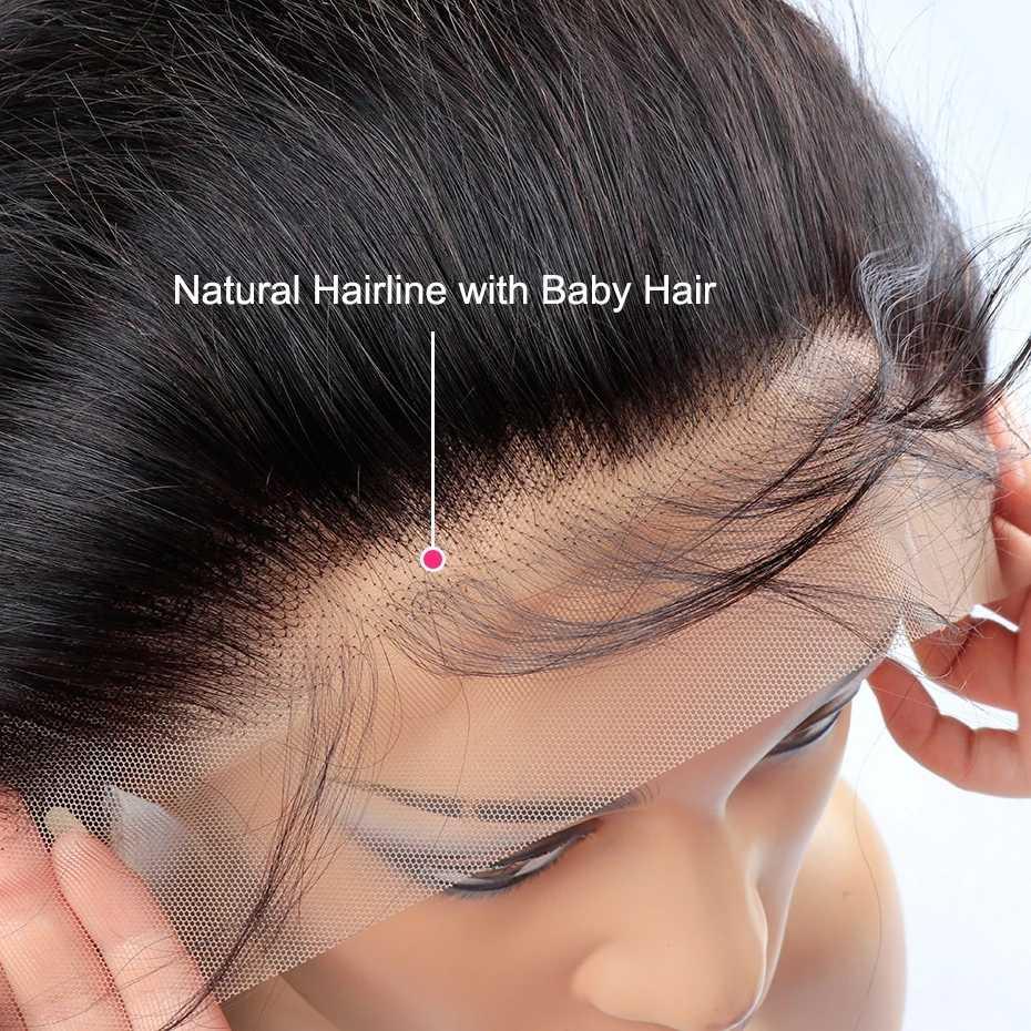 Peruca de cabelo humano frontal brasileiro, 360 fechamento de perucas para mulheres