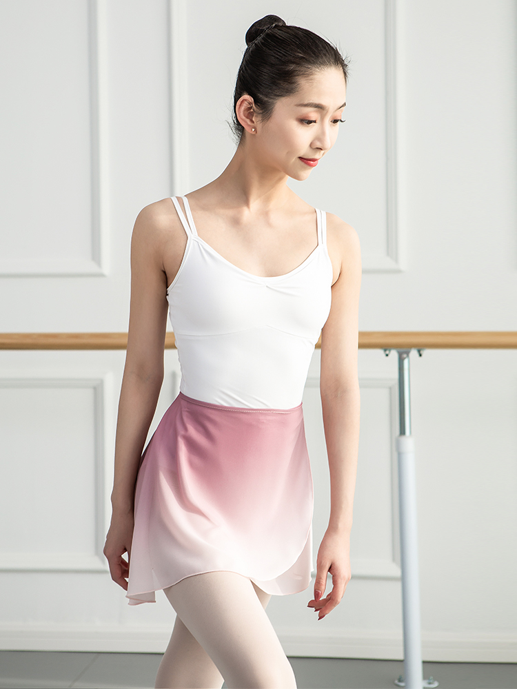 New Lace Up Gradient Ballet Dress With Short Skirt Chiffon Dance Skirts Women Adults Soft Pink Green Costumes