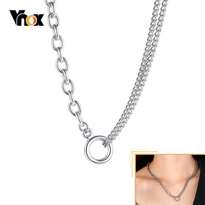 Vnox Stylish Layerd Choker for Women Curb Miami Cuban Rectangle Oval O Links Chain Necklace Punk Chic Street Girl's Neck Jewelry