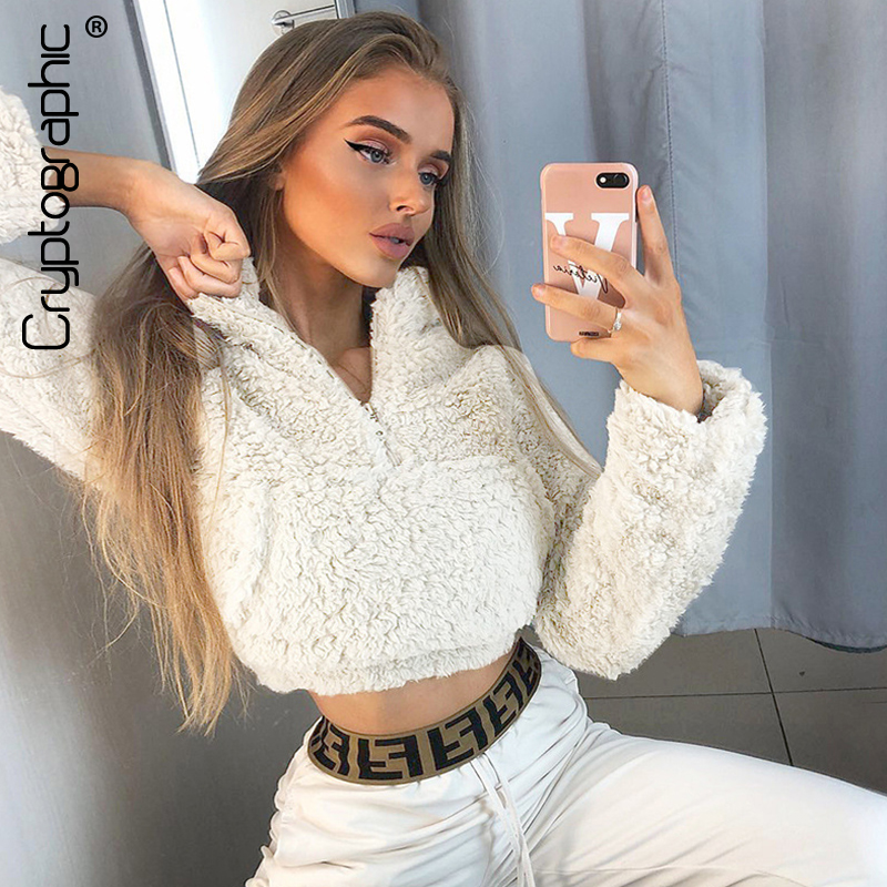 Cryptographic Hairy Solid Sweatshirt For Women Zipper Long Sleeve Pullovers Crop Top 2019 Autumn Winter Casual Sweatshirt Slim