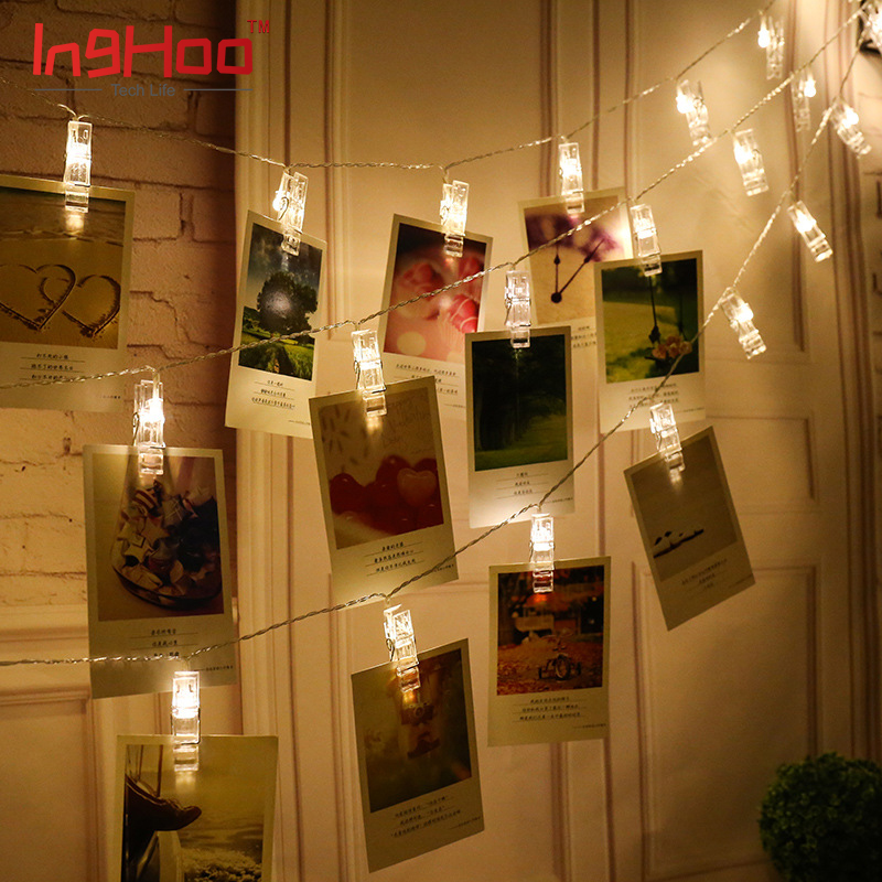 Inghoo LED Photo Clip String Lights, Bedroom Fairy Lights With Clips For Bedroom Decoration To Hang Card, Polaroids & Pictures