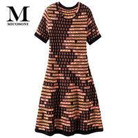 Micosoni Italian Style Knitting 2019 Autumn New Western Women's Round Neck Short Sleeve Plaid Color Matching Sweater Dress S XL