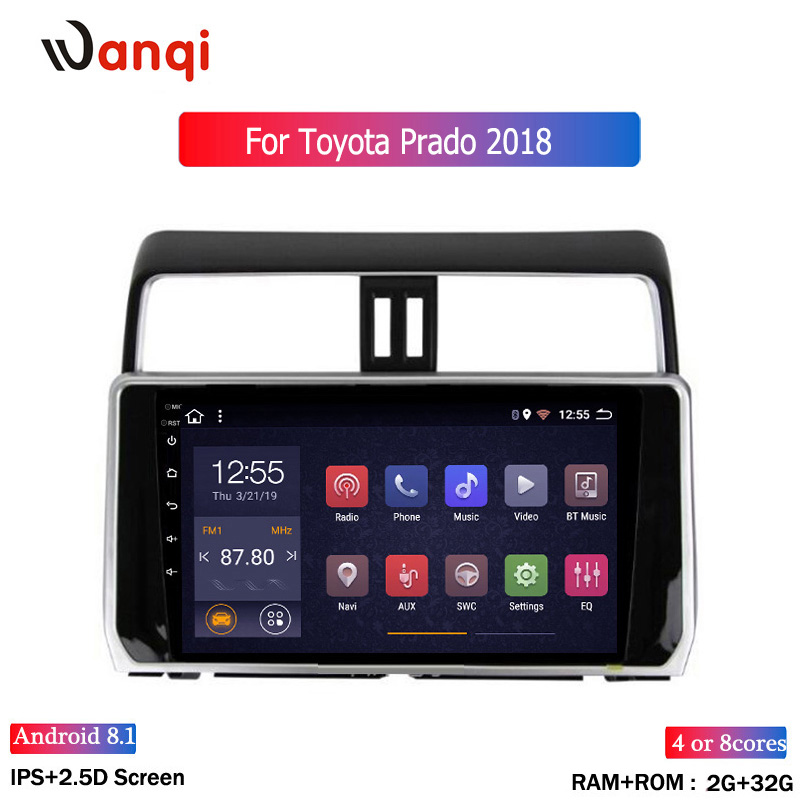 2.5D 10.2 inch Octa 8 Core 2G+32Gb Android Car DVD Player for <font><b>Toyota</b></font> Land cruiser Prado <font><b>150</b></font> <font><b>2018</b></font> autoadio GPS Navigation BT image