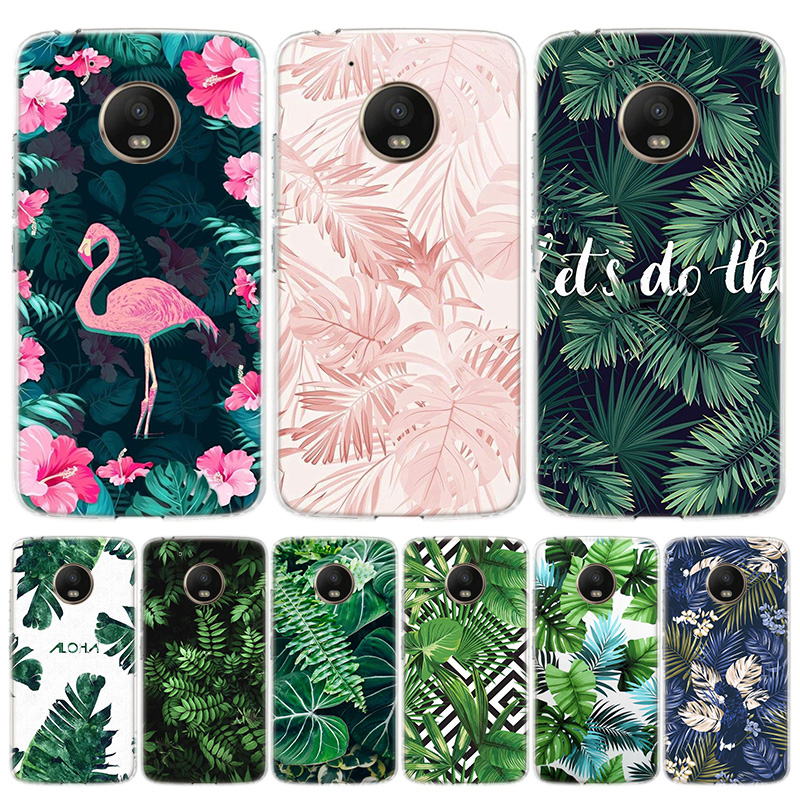 Tropical Plant Green Leaf Flower Phone Case For Motorola Moto G7 G8 G6 G5S G5 E6 E5 E4 Plus Power G4 One Action X4 EU Gift Coque